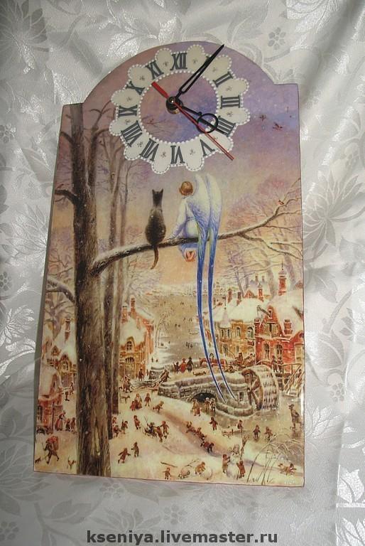 """Часы для дома ручной работы. Ярмарка Мастеров - ручная работа. Купить Настенные часы """"Хранители"""". Handmade. Город, картина, беседа"""