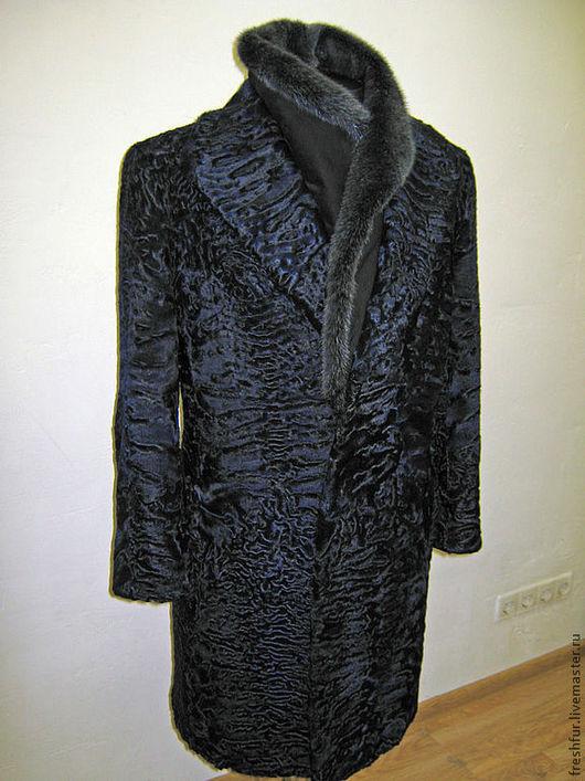 Верхняя одежда ручной работы. Ярмарка Мастеров - ручная работа. Купить Пальто мужское из каракуля со съёмным воротником из норки. Handmade.