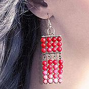Украшения handmade. Livemaster - original item earrings with coral beads. Handmade.