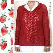 Одежда handmade. Livemaster - original item Sweater women`s Strawberry, red, sequins, buttons, openwork, mohair. Handmade.