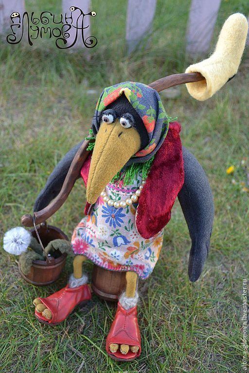 Игрушки животные, ручной работы. Ярмарка Мастеров - ручная работа. Купить ВОРОНА МАТРЕНА, авторская текстильная игрушка. Handmade. Черный