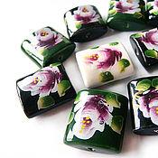 handmade. Livemaster - original item Ceramic beads with floral print 25h24mm in stock. Handmade.