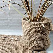 Для дома и интерьера ручной работы. Ярмарка Мастеров - ручная работа Большая вязаная корзина из джута Big jute. Handmade.