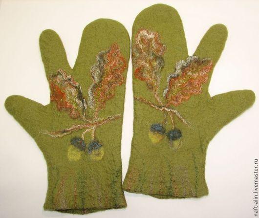 """Варежки, митенки, перчатки ручной работы. Ярмарка Мастеров - ручная работа. Купить Валяные варежки трёхпалые """"Охотничьи"""". Handmade. Рисунок"""