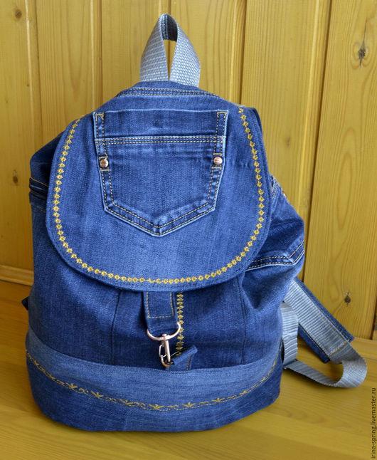 """Рюкзаки ручной работы. Ярмарка Мастеров - ручная работа. Купить рюкзак """"Хипстер"""". Handmade. Тёмно-синий, джинсовый рюкзак"""