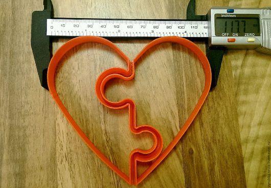 Формы вырубки для печенья, пряников, мастики, пластилина и т.д. в  виде пазла из 2 частей `Сердце`.