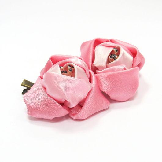Заколки ручной работы. Ярмарка Мастеров - ручная работа. Купить Заколка Розочка для принцессы. Handmade. Розовый, розочка, атласная ткань