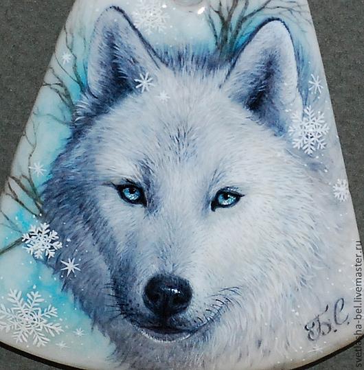 Кулоны, подвески ручной работы. Ярмарка Мастеров - ручная работа. Купить сНежности... Волк... Handmade. Лаковая миниатюра, белый