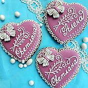 Сувениры и подарки handmade. Livemaster - original item Gingerbread-card Heart with butterfly. Cakes for guests. Handmade.
