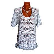 Одежда ручной работы. Ярмарка Мастеров - ручная работа Белая с люрексом футболка. Handmade.