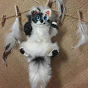 Брелок ручной работы. Ярмарка Мастеров - ручная работа Черно-белый котик. Handmade.