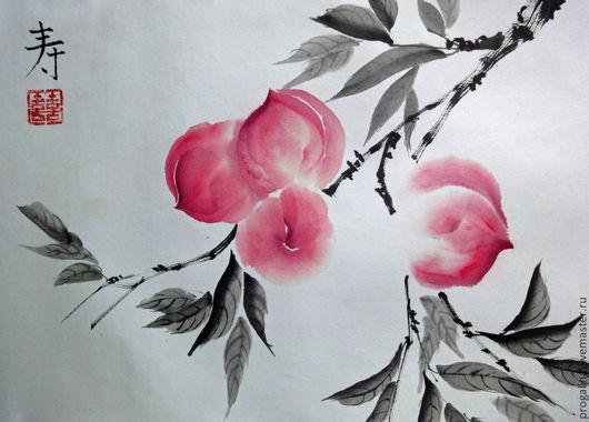 Картины цветов ручной работы. Ярмарка Мастеров - ручная работа. Купить Розовые персики. Handmade. Персики, китайская живопись