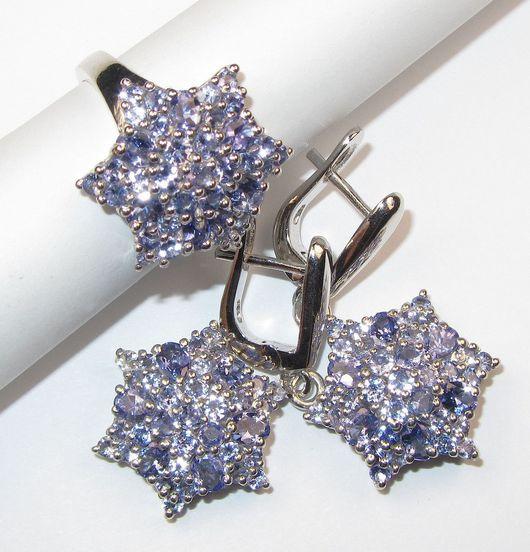 Серьги ручной работы. Ярмарка Мастеров - ручная работа. Купить Серьги и кольцо с танзанитом серебряные. Handmade. Голубой, серьги с камнями