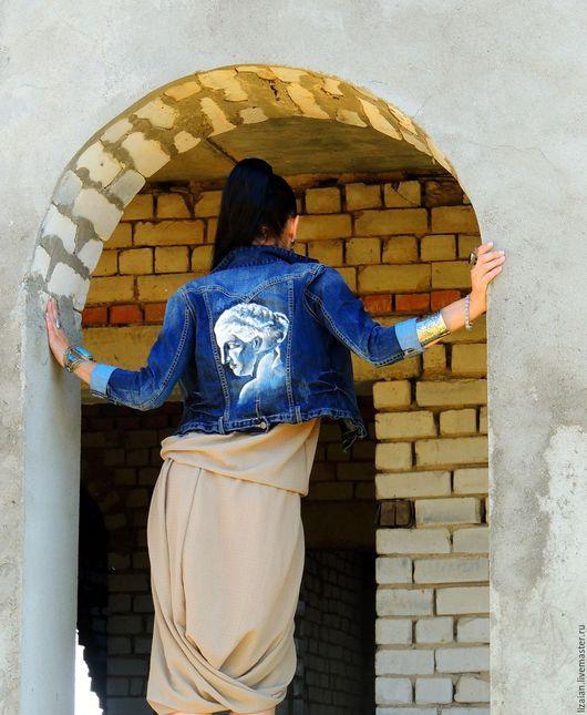 Пиджаки, жакеты ручной работы. Ярмарка Мастеров - ручная работа. Купить Джинсовый жакет с росписью. Handmade. Комбинированный, жакет джинсовый