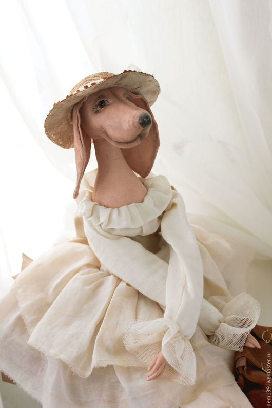 Коллекционные куклы ручной работы. Ярмарка Мастеров - ручная работа. Купить Такса в стиле будуарной куклы. Handmade. Бежевый, хлопок