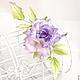 """Броши ручной работы. Роза """"Profumo di lilla"""". Натуральный шелк.. 'Poli-Flower'   (Надежда). Ярмарка Мастеров. Брошь с розой"""