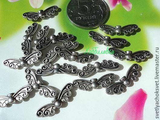 Бусина-разделитель Крылья Античное серебро размер 7* 22 мм