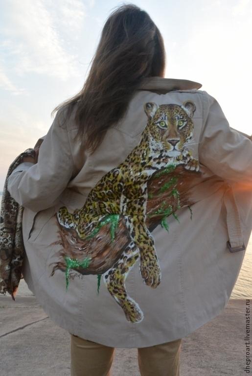 """Верхняя одежда ручной работы. Ярмарка Мастеров - ручная работа. Купить Пальто """"Леопард""""ручная роспись. Handmade. Пальто, краски по ткани"""