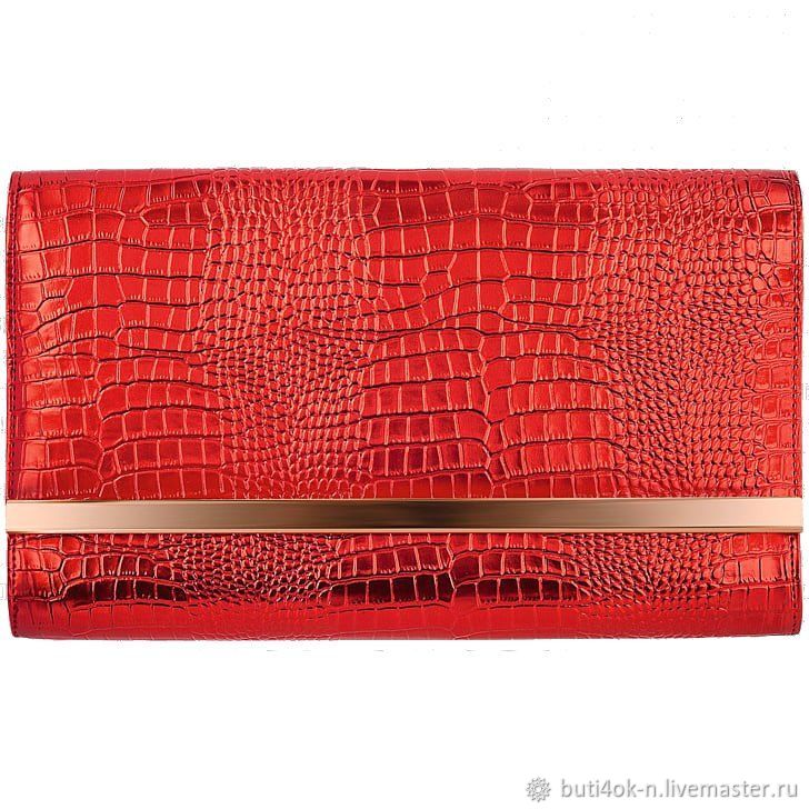 Stylish set: red leather clutch and strap.the skin under the reptile, Vintage bags, Nelidovo,  Фото №1