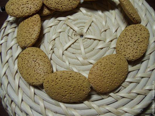 Для украшений ручной работы. Ярмарка Мастеров - ручная работа. Купить Лава-бусины овалы песочного цвета. Handmade. Оранжевый