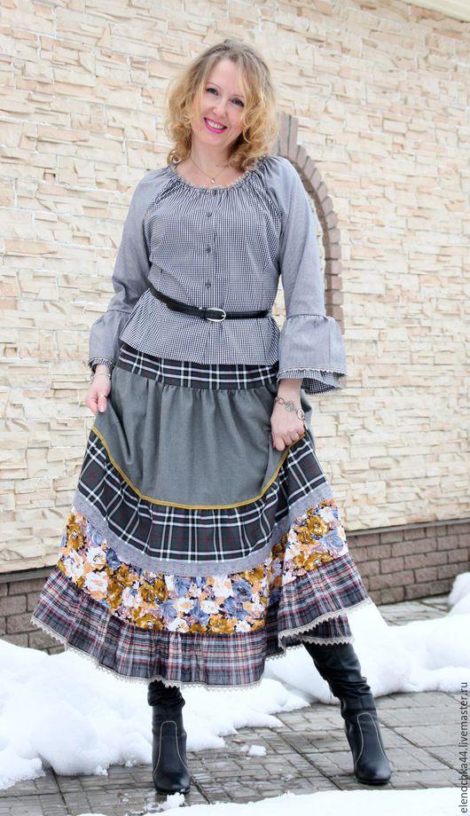 """Юбки ручной работы. Ярмарка Мастеров - ручная работа. Купить Длинная юбка бохо """"Карелия"""". Handmade. Серый, богемный шик"""