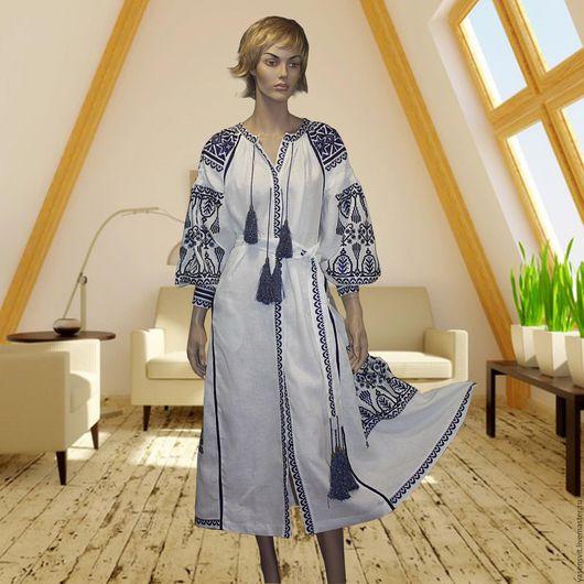 Платья ручной работы. Ярмарка Мастеров - ручная работа. Купить Вышитое Льняное платье Белое длинное платье Украинская вышиванка 2109. Handmade.