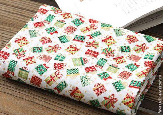 """Шитье ручной работы. Ярмарка Мастеров - ручная работа. Купить Хлопок Корейский """"Новогодние подарки"""". Handmade. Разноцветный, хлопок для пэчворка"""