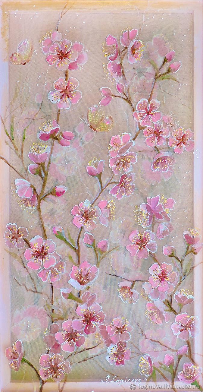 Картины цветов ручной работы. Ярмарка Мастеров - ручная работа. Купить Цветущая вишня-картина на шелке. Handmade. Сакура