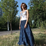 Skirts handmade. Livemaster - original item Denim tiered summer skirt