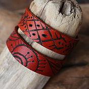Украшения ручной работы. Ярмарка Мастеров - ручная работа Кожаные браслеты с авторским рисунком. Handmade.