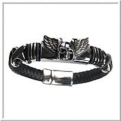 Украшения handmade. Livemaster - original item Men`s leather bracelet No. 4 accessories steel 316L. Handmade.