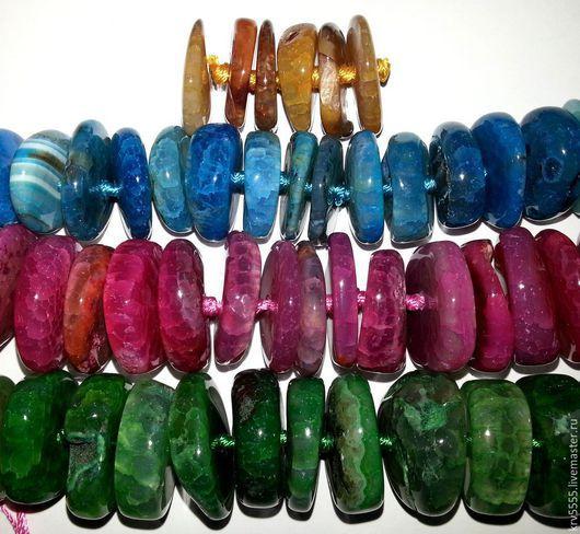 Для украшений ручной работы. Ярмарка Мастеров - ручная работа. Купить Агат африканский, рондель, 4 цвета. Handmade. Бусина