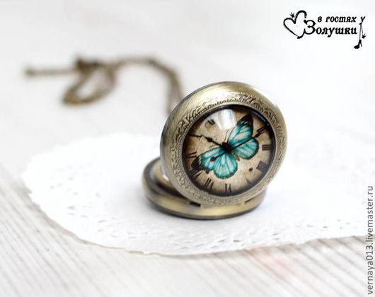 "Часы ручной работы. Ярмарка Мастеров - ручная работа. Купить Винтажные часы-кулон ""Бабочка"". Handmade. Часы-кулон, циферблат"
