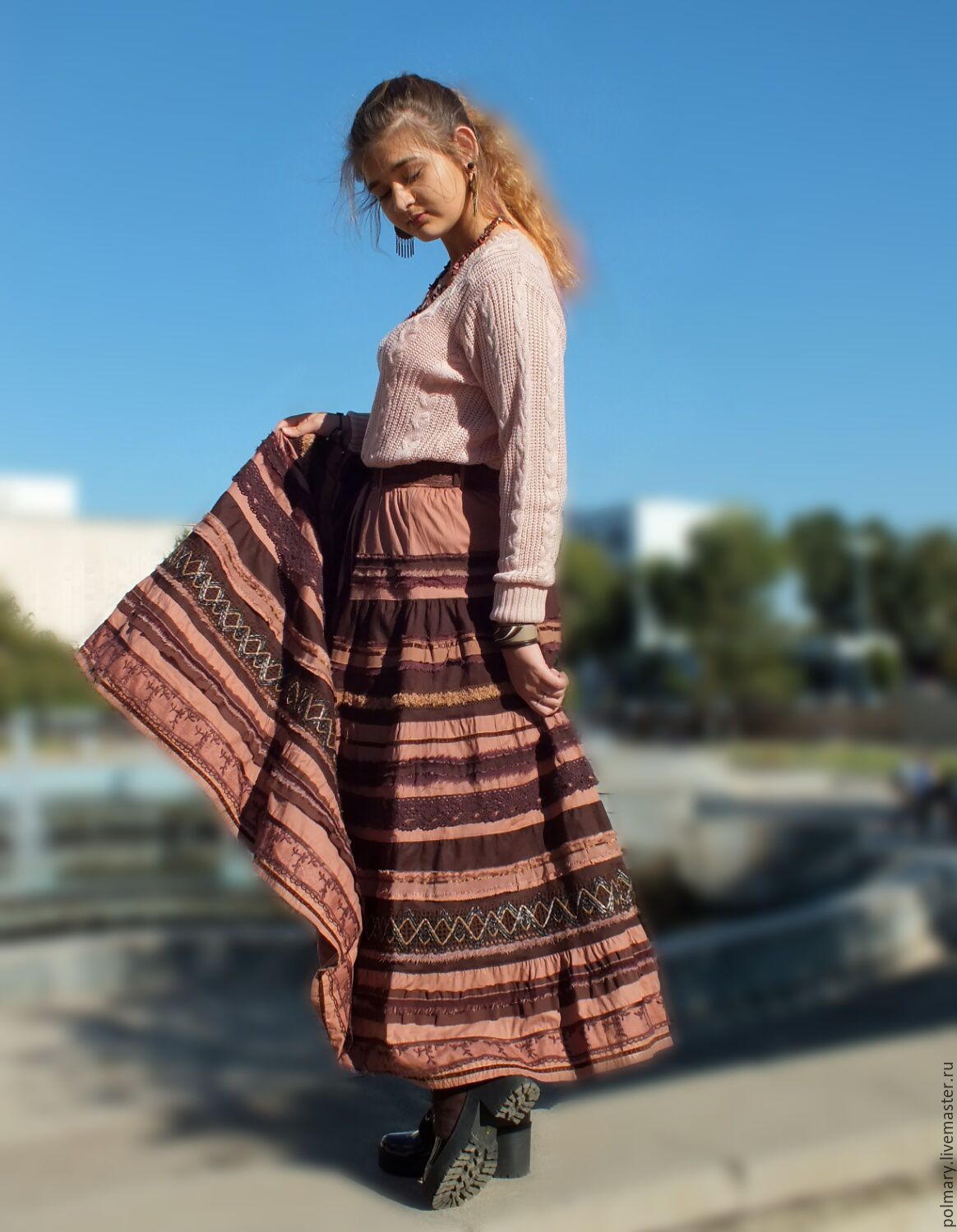 The skirt is made of cotton and lace in the style of boho long Chocolate, Skirts, Tashkent,  Фото №1