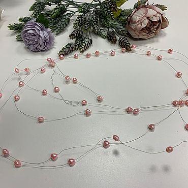 Материалы для творчества ручной работы. Ярмарка Мастеров - ручная работа Бусины пластиковые на леске Розовые жемчужные сердца. Handmade.