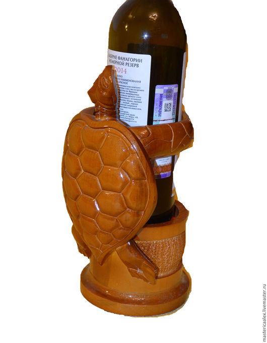 Подарочное оформление бутылок ручной работы. Ярмарка Мастеров - ручная работа. Купить подставка для бутылок Мудрая черепаха. Handmade. Коричневый