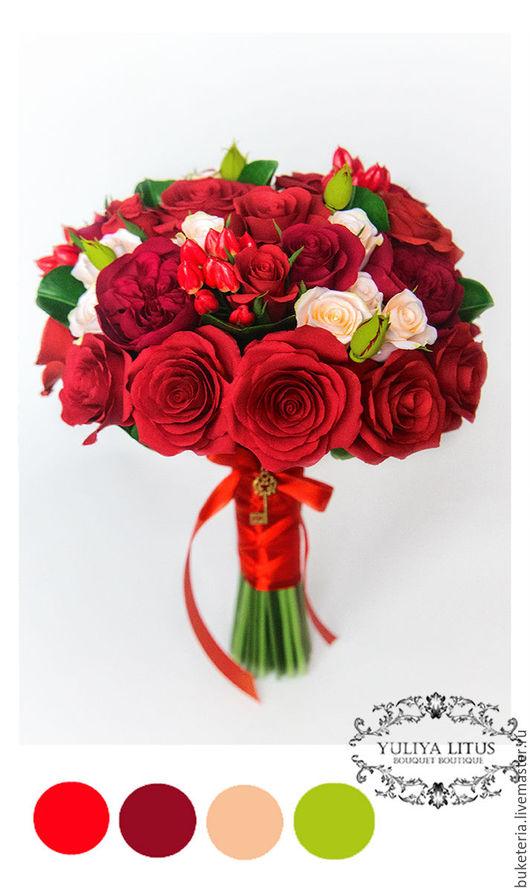 Свадебные цветы ручной работы. Ярмарка Мастеров - ручная работа. Купить Букет невесты из полимерной глины с алыми розами. Handmade.