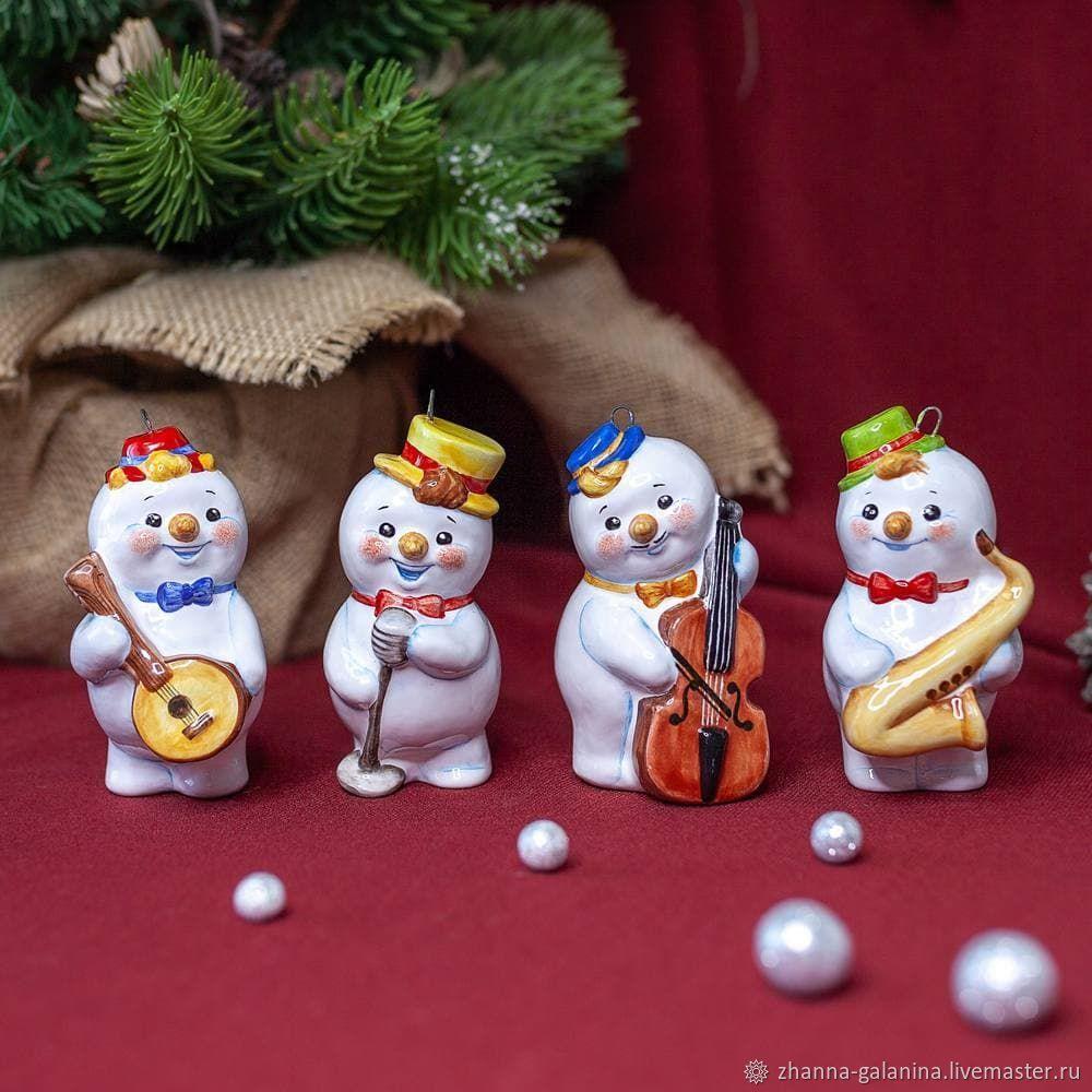 Елочные игрушки, керамика, снеговики музыканты, Елочные игрушки, Ярославль,  Фото №1