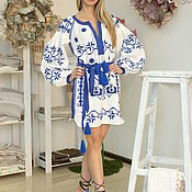Одежда handmade. Livemaster - original item White tunic with blue embroidery. Handmade.