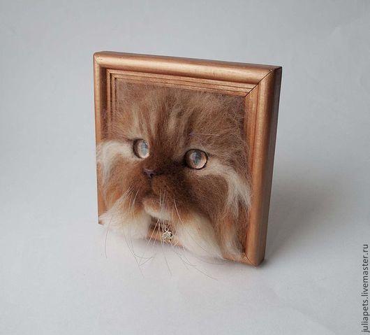 Третий Босс  Животные ручной работы Рыжий рыжий кот Интерьерное украшение Картина панно из шерсти (войлок)