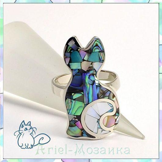 Кольцо `Котёнок с жемчужным хвостиком` ARIEL - Алёна - МОЗАИКА  Москва  Кольцо - Мозаика из натуральных камней Кольцо с перламутром Кольцо с бирюзой