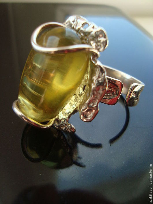 Кольца ручной работы. Ярмарка Мастеров - ручная работа. Купить кольцо ТРОПИЧЕСКИЙ ЦВЕТОК 2. Handmade. Зеленый, кольцо с янтарем