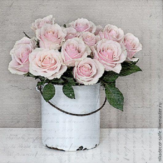 Декупаж и роспись ручной работы. Ярмарка Мастеров - ручная работа. Купить Корзина с розами (80000) 33х33 салфетка для декупажа. Handmade.