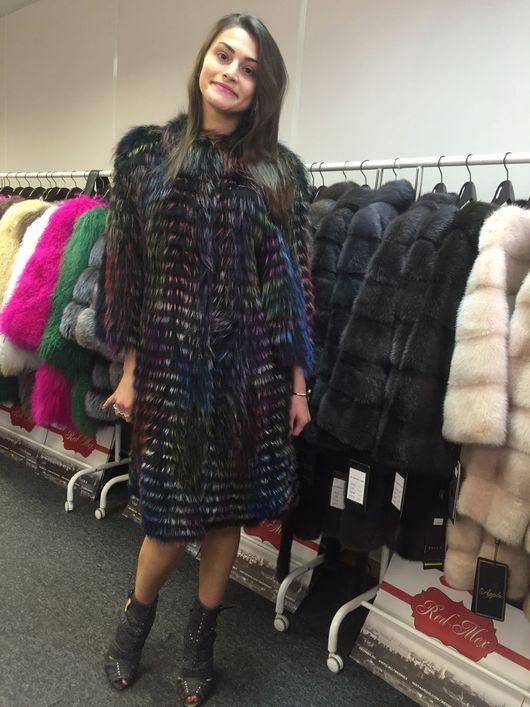 Верхняя одежда ручной работы. Ярмарка Мастеров - ручная работа. Купить Пальто из чернобурки на трикотаже в стиле Fendi. Handmade.