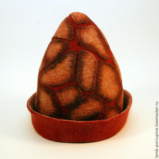 """Шапки ручной работы. Ярмарка Мастеров - ручная работа. Купить Шапка для бани """"Вулкан"""". Handmade. Ярко-красный, шапка зимняя"""