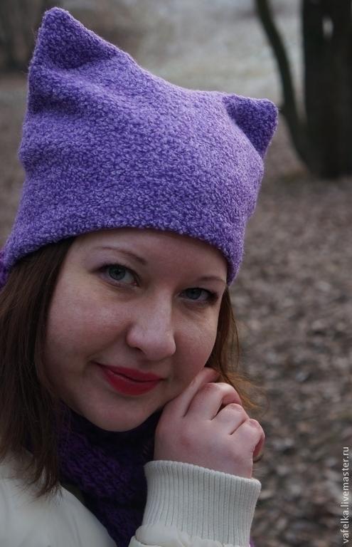 Шапки ручной работы. Ярмарка Мастеров - ручная работа. Купить шапка женская Кошка. Handmade. Шапка женская, шапка кошка