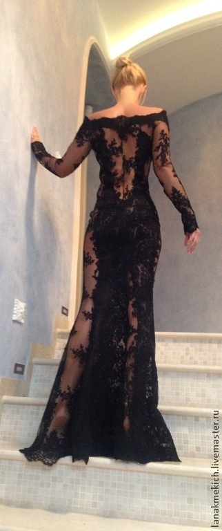 Black Lace Dress With Cold Shoulder In The Style Of 3d Shop Online