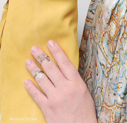 Кольца ручной работы. Ярмарка Мастеров - ручная работа. Купить Пара модных колечек на среднюю фалангу пальчиков: Cool+Завиток. Handmade.