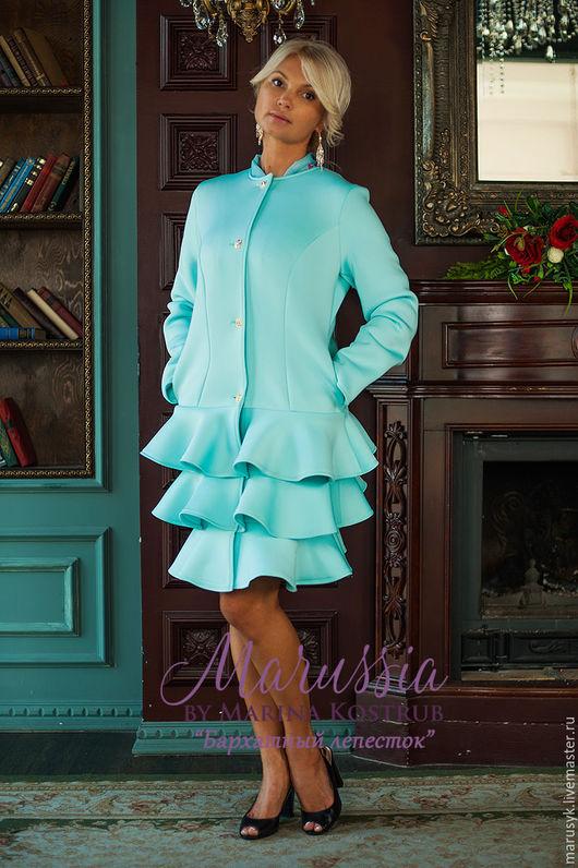 Верхняя одежда ручной работы. Ярмарка Мастеров - ручная работа. Купить Пальто БЛ-36. Handmade. Бирюзовый, Пальто на осень