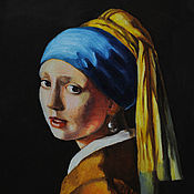 Pictures handmade. Livemaster - original item Oil painting Of a girl with a pearl earring (Copy of Jan Vermeer). Handmade.